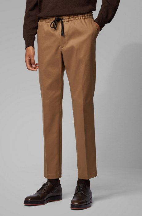 Slim-fit pants with drawstring in stretch gabardine, Beige