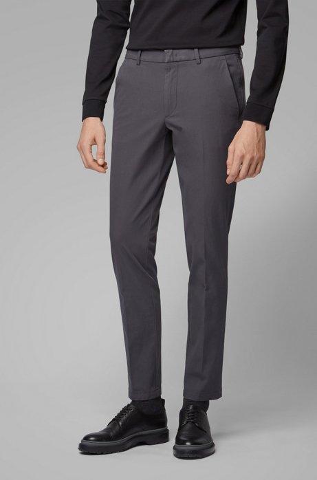 Slim-fit chinos with hidden passport pocket, Dark Grey