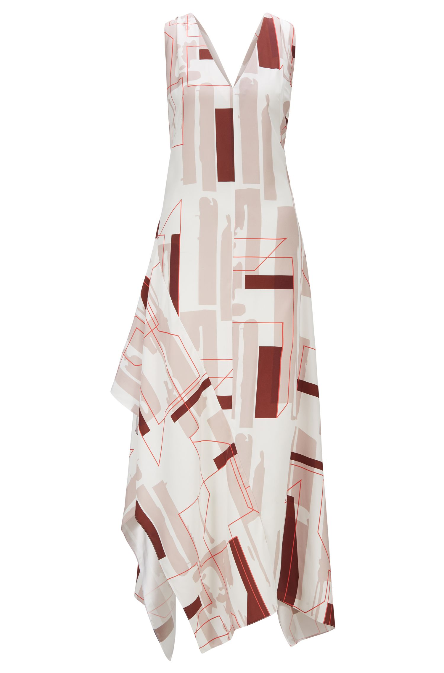 Fashion Show low-cut V-neck dress with geometric print, Patterned