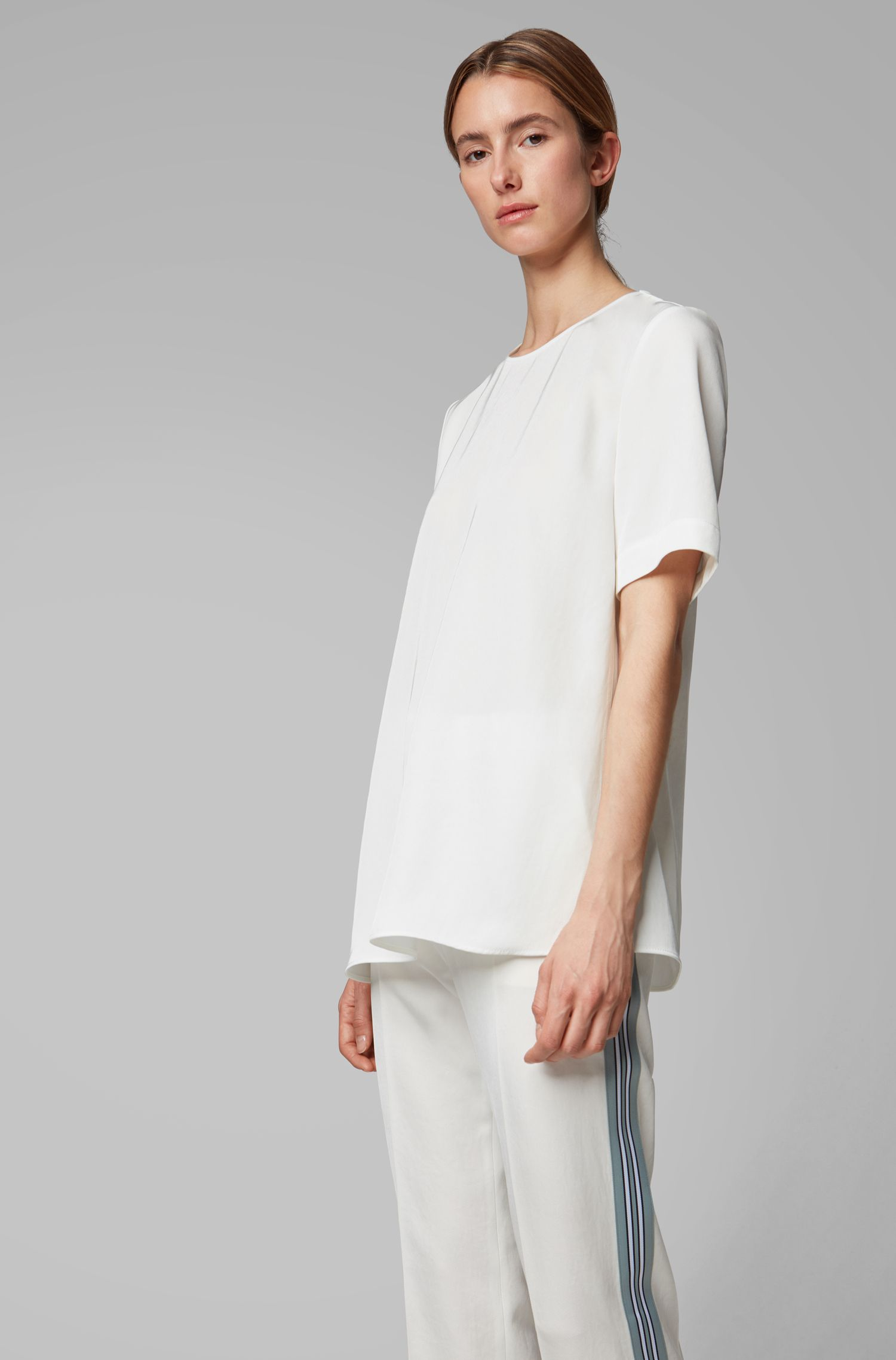 Fashion Show relaxed-fit top with wide sleeves, Natural