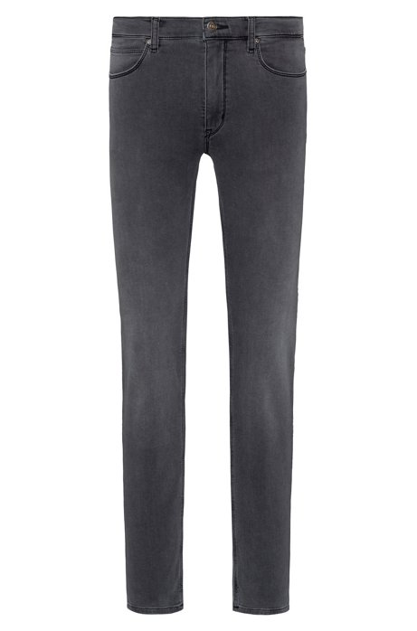 Skinny-fit jeans in mid-grey knitted denim, Grey