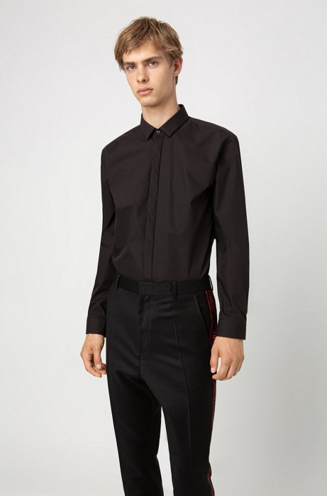 Extra-slim-fit shirt with contrast trims, Black