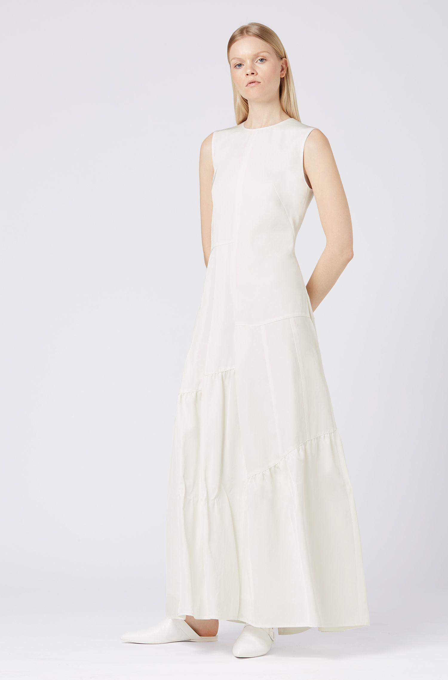 Fashion Show maxi dress in asymmetric Japanese twill, Natural