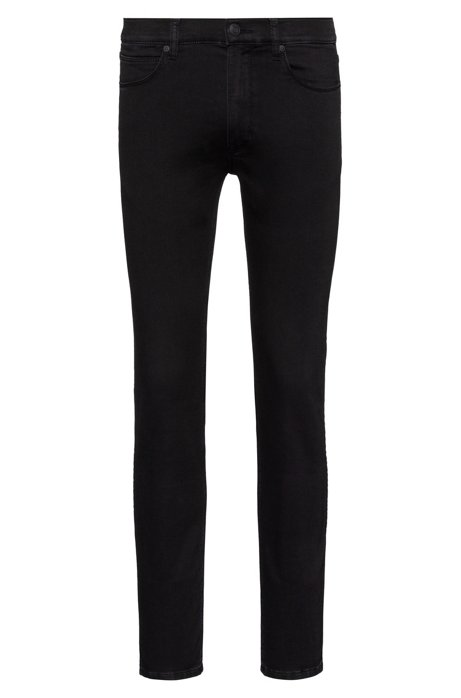 Skinny-fit jeans in knitted black stretch denim, Black