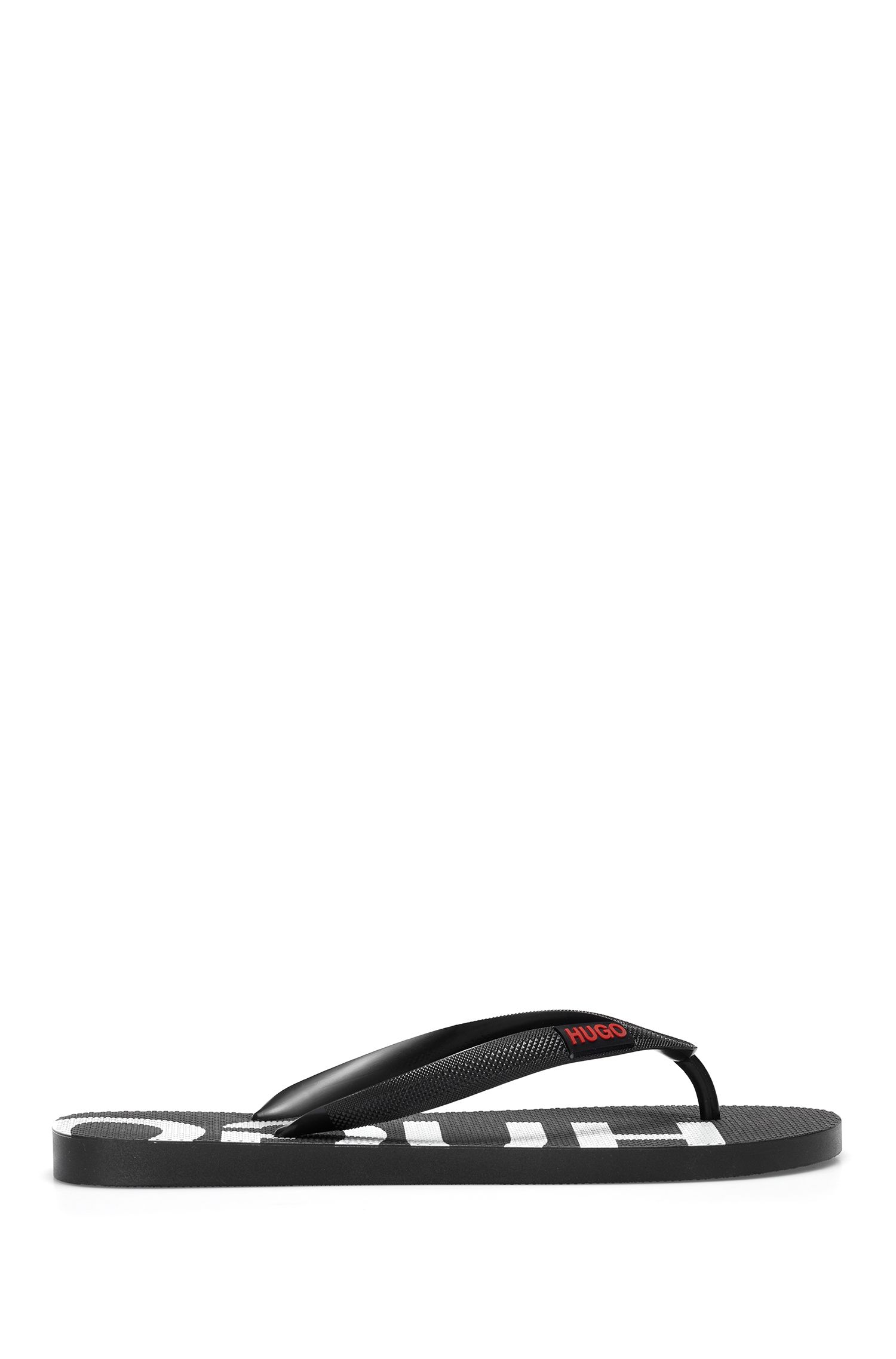 Italian-made flip-flops with logo detailing, Black