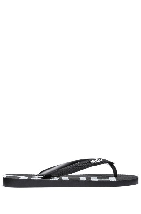 Italian-made flip-flops with logo detailing, Black