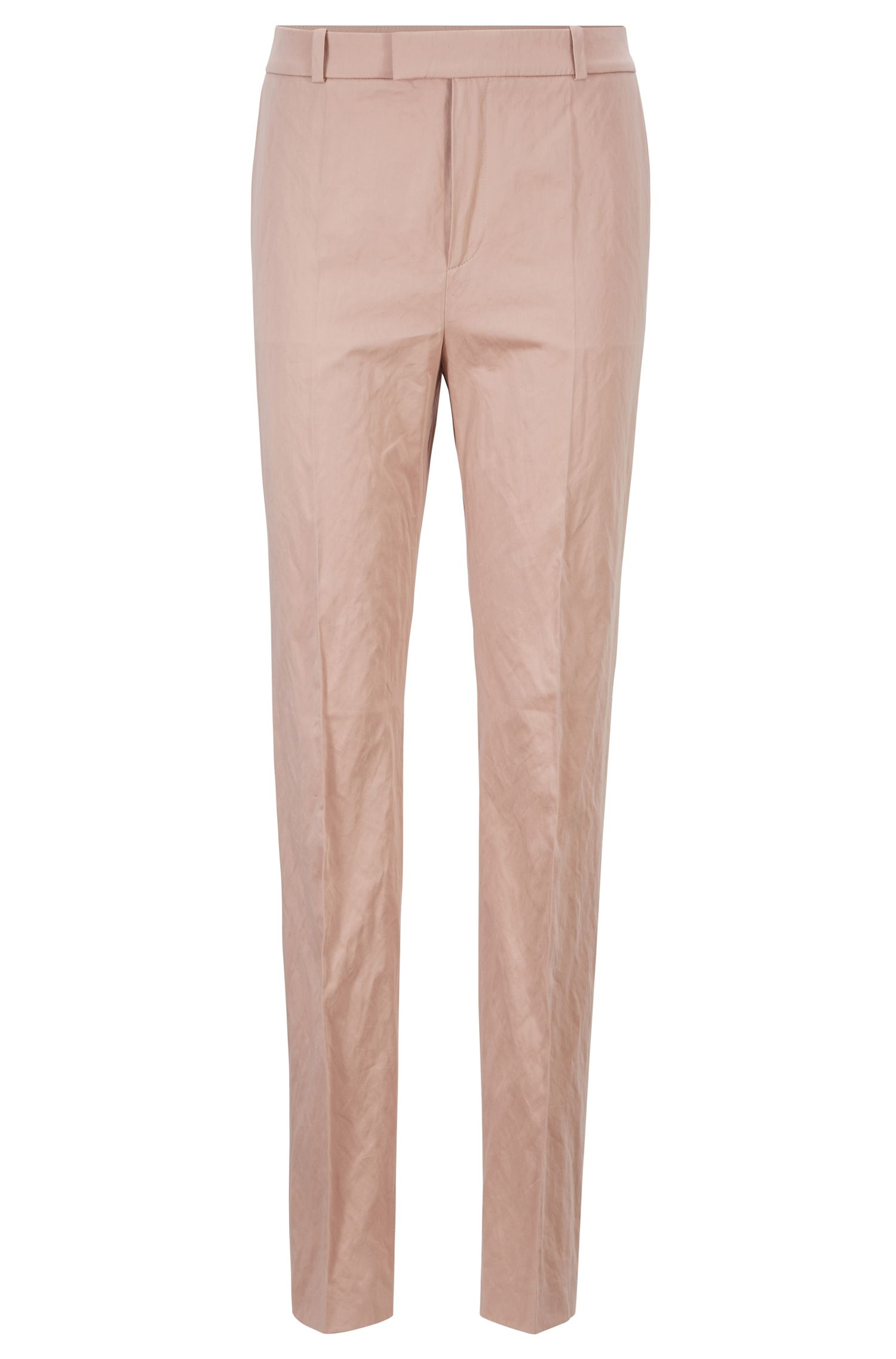 Fashion Show regular-fit pants in a lustrous cotton blend, light pink