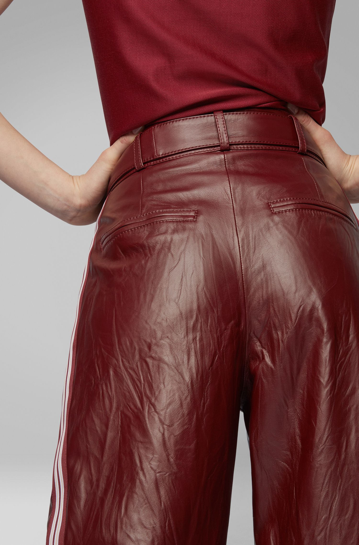 Fashion Show relaxed-fit nappa pants with side stripe, Dark Red