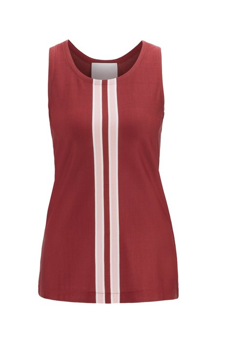 Fashion Show Italian-jersey top with knitted stripes, Dark Red