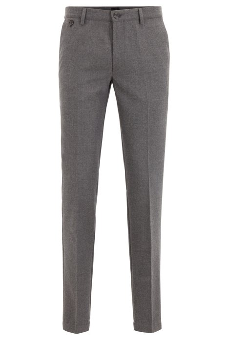 Slim-fit chinos in brushed stretch fabric, Grey
