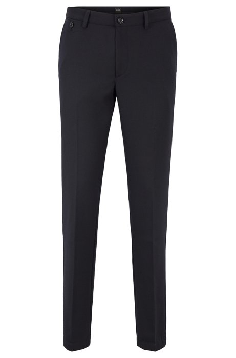 Slim-fit chinos in brushed stretch fabric, Dark Blue