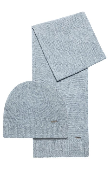 Scarf and beanie hat gift set in wool jacquard, Grey