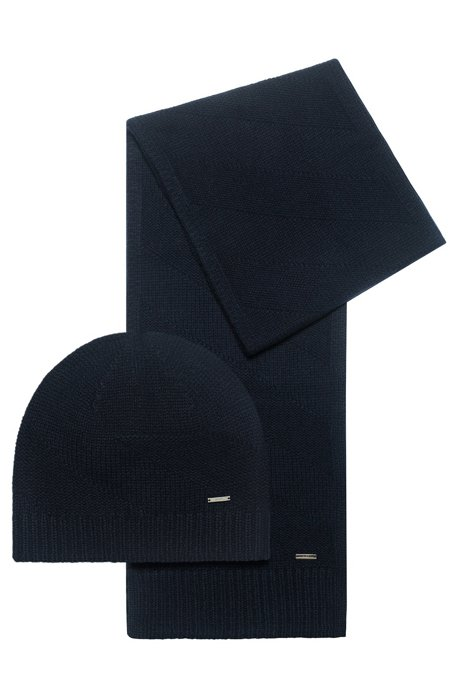 Scarf and beanie hat gift set in wool jacquard, Dark Blue