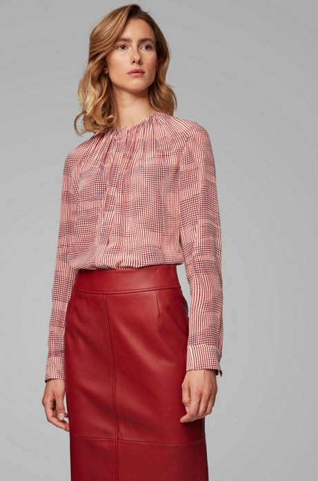 Lightweight blouse in pure silk with irregular check, Patterned