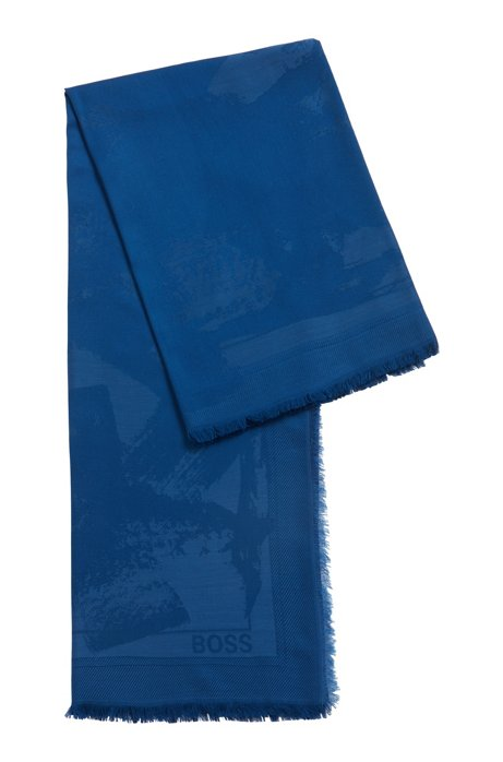 Brushstroke-pattern scarf in modal-blend jacquard, Blue