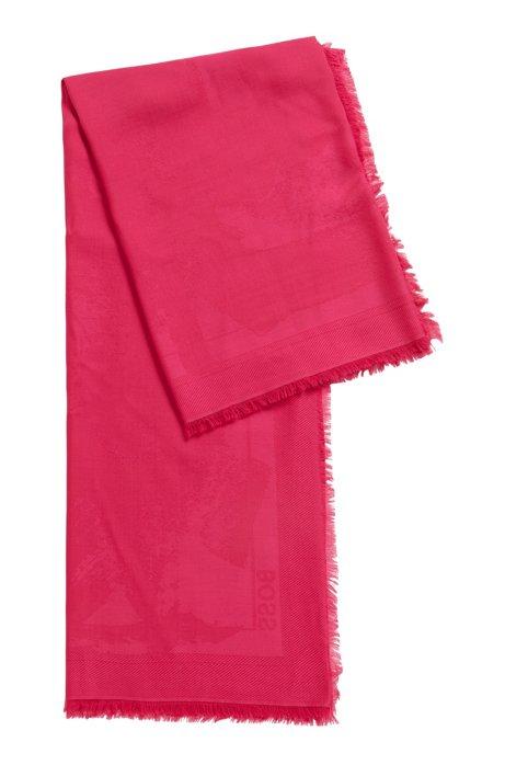 Brushstroke-pattern scarf in modal-blend jacquard, Pink