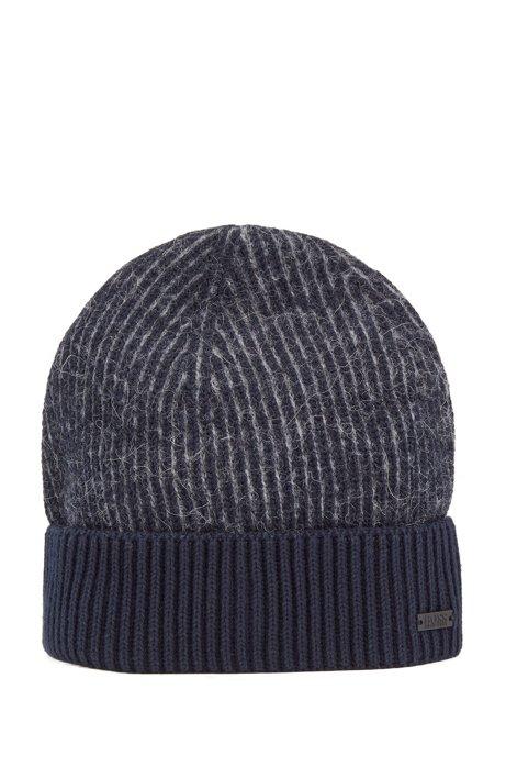 Two-tone rib-knit beanie hat with textured wool, Dark Blue