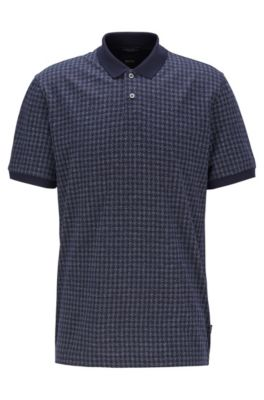 Houndstooth-jacquard polo shirt in Egyptian cotton, Dark Blue