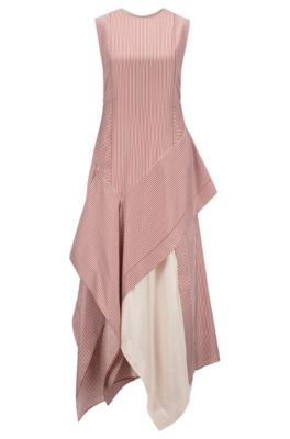Fashion Show dress in striped silk with waterfall detail, Patterned