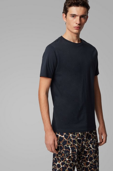 Regular-fit T-shirt with raw-cut neckline, Dark Blue