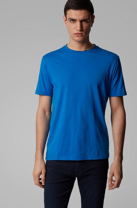Regular-fit T-shirt with raw-cut neckline, Blue