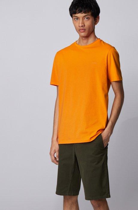 Regular-fit T-shirt with raw-cut neckline, Orange