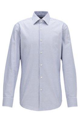 Slim-fit shirt in Vichy-check cotton twill, Dark Blue