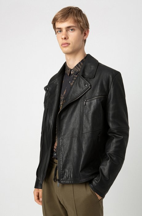 Slim-fit biker jacket in calf leather with feature lining, Black