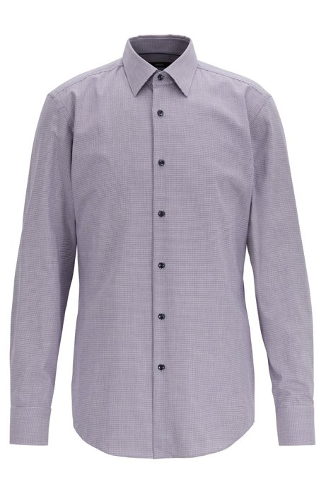 Slim-fit shirt in micro-patterned cotton twill, Dark Purple