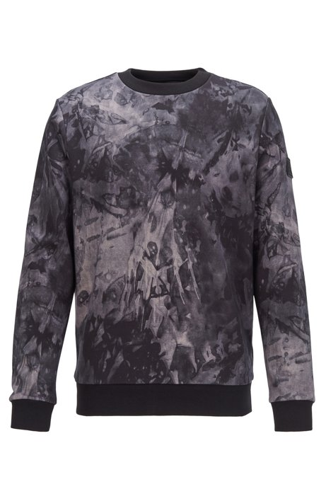Relaxed-fit cotton sweatshirt with collection print, Dark Blue