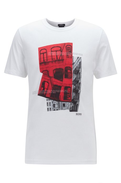 Slim-fit T-shirt in Pima cotton with photographic print, White