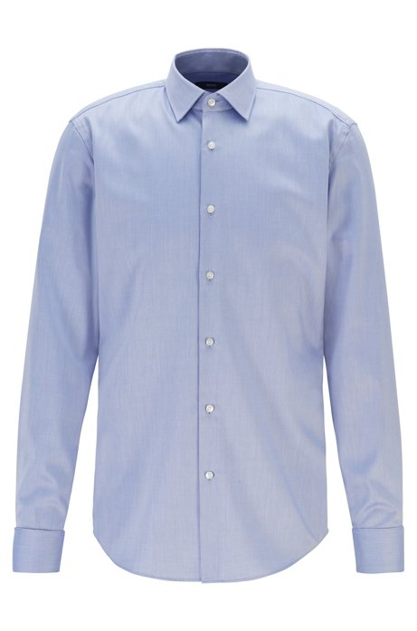 Slim-fit shirt in easy-iron cotton, Blue
