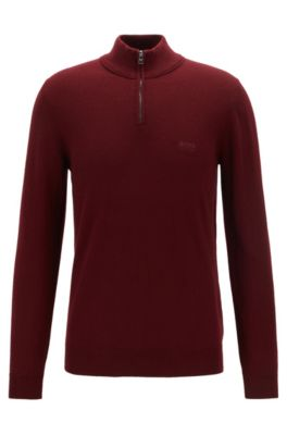 Regular-fit troyer sweater in pure lambswool, Dark Red