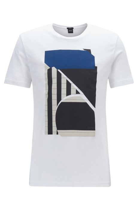 Slim-fit T-shirt with mixed-print abstract motif, White
