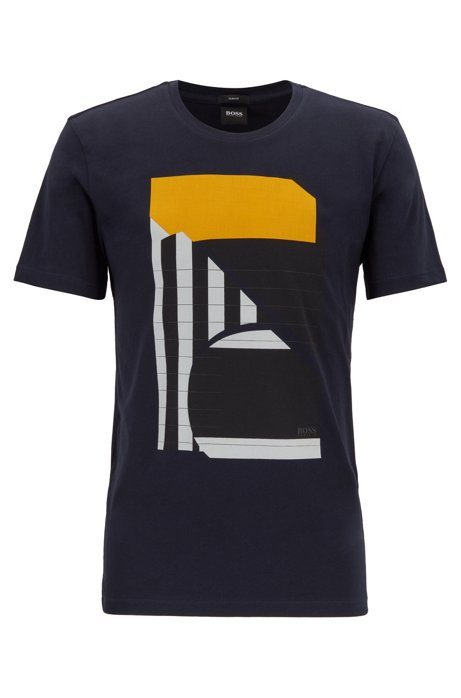Slim-fit T-shirt with mixed-print abstract motif, Dark Blue