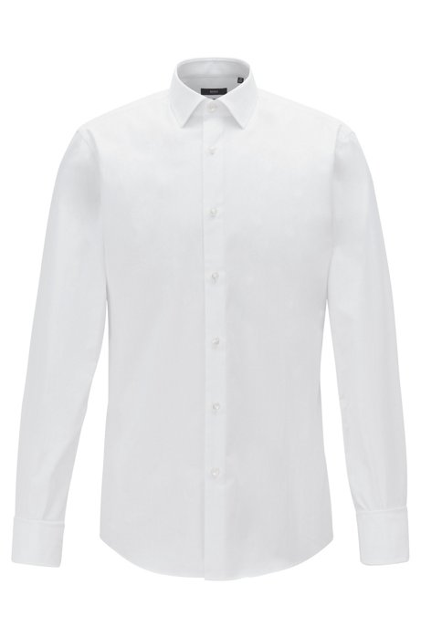 Slim-fit shirt in herringbone cotton with double cuffs, White