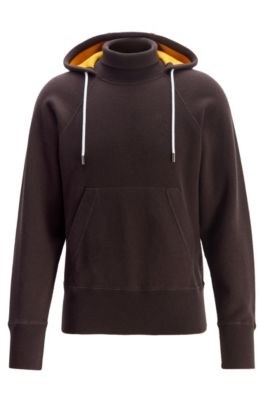 Hooded sweater in double-faced fabric with turtleneck, Dark Brown