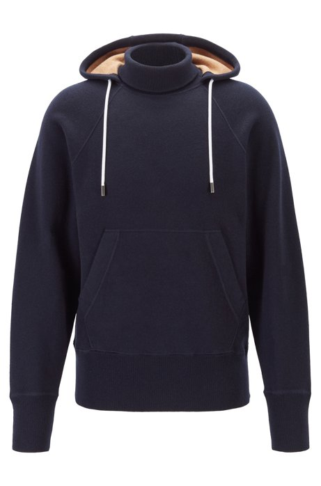 Hooded sweater in double-faced fabric with turtleneck, Dark Blue