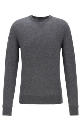 Crew-neck sweater in a double-faced wool-cotton blend, Grey