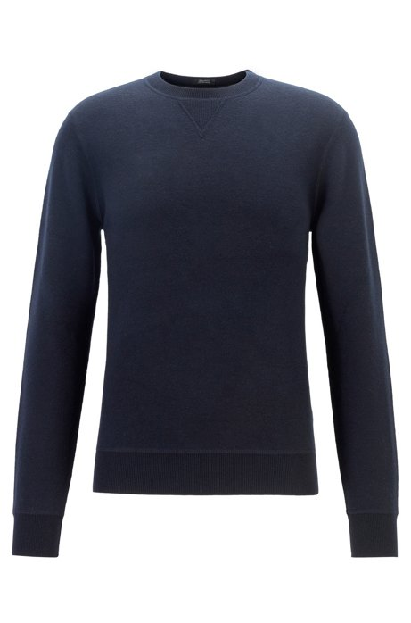 Crew-neck sweater in a double-faced wool-cotton blend, Dark Blue
