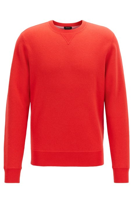 Crew-neck sweater in a double-faced wool-cotton blend, Red
