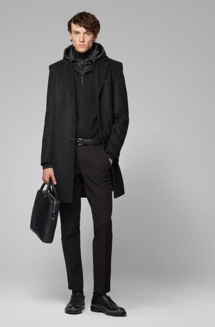 Zip-through knitted jacket with detachable hood