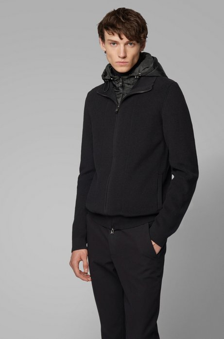 Zip-through knitted jacket with detachable hood, Black