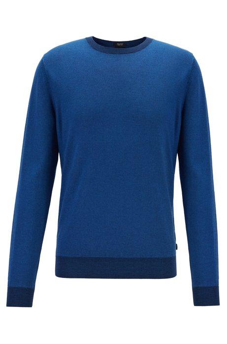 Regular-fit melange sweater in virgin wool and silk, Dark Blue