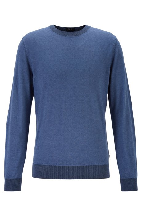 Regular-fit melange sweater in virgin wool and silk, Open Blue