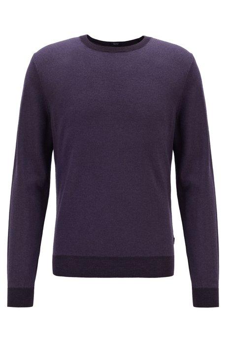 Regular-fit melange sweater in virgin wool and silk, Dark Purple