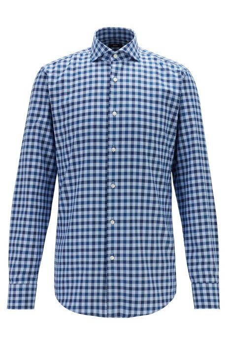 Slim-fit shirt in gingham cotton with spread collar, Dark Blue
