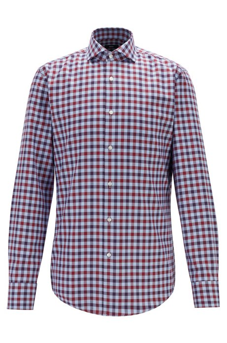 Slim-fit shirt in gingham cotton with spread collar, Dark Red