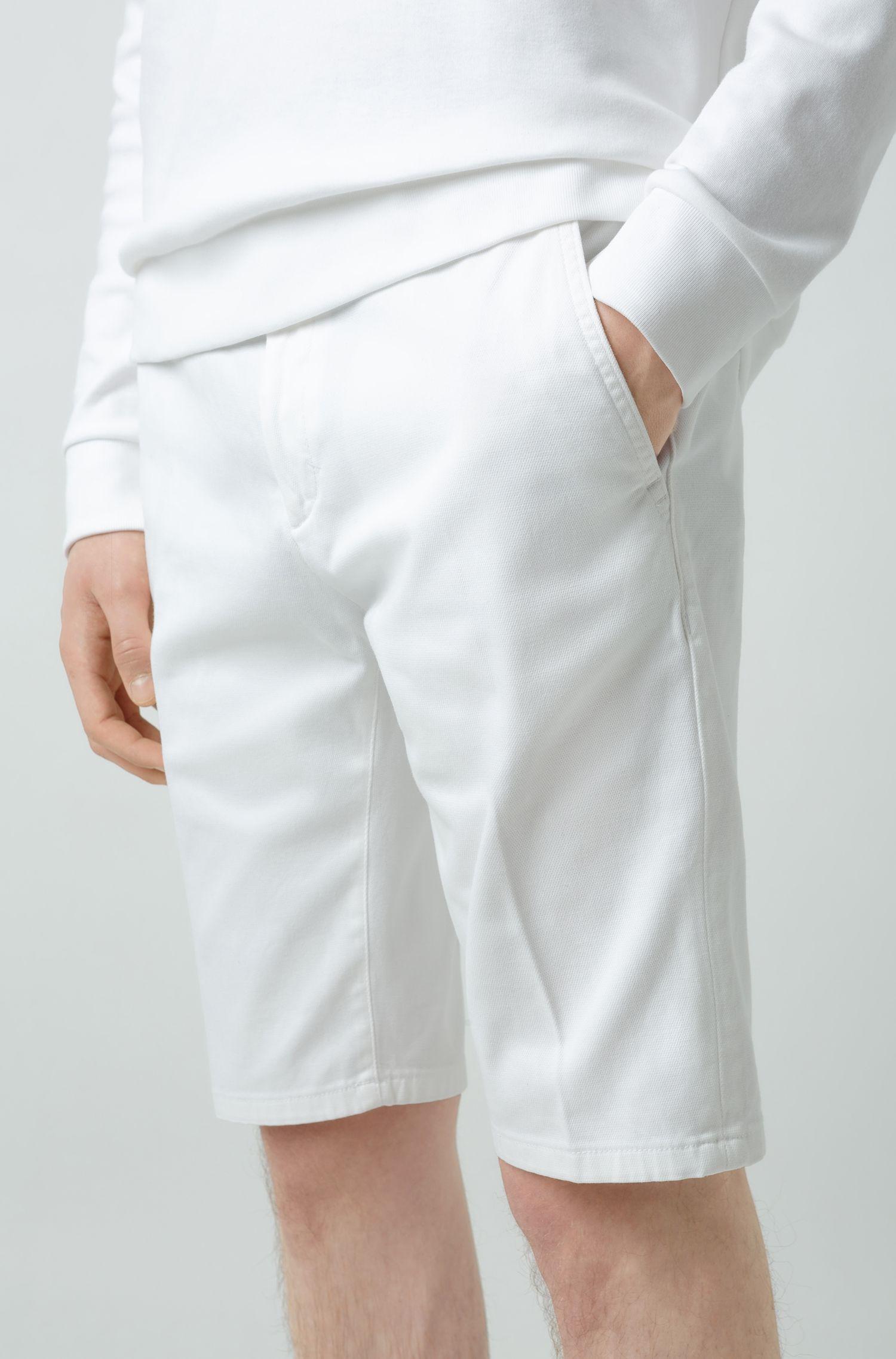 Slim-leg shorts in overdyed stretch cotton, White