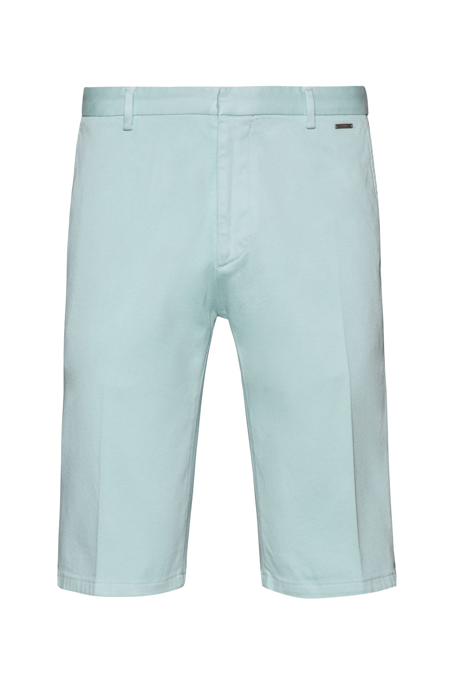 Slim-leg shorts in overdyed stretch cotton, Light Green